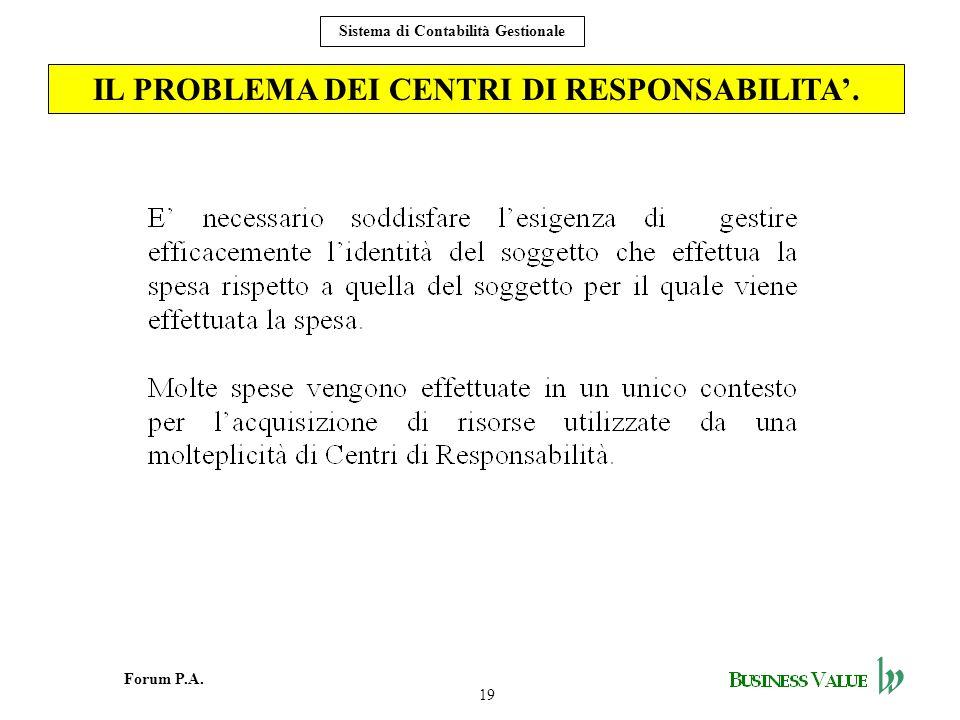 IL PROBLEMA DEI CENTRI DI RESPONSABILITA'.