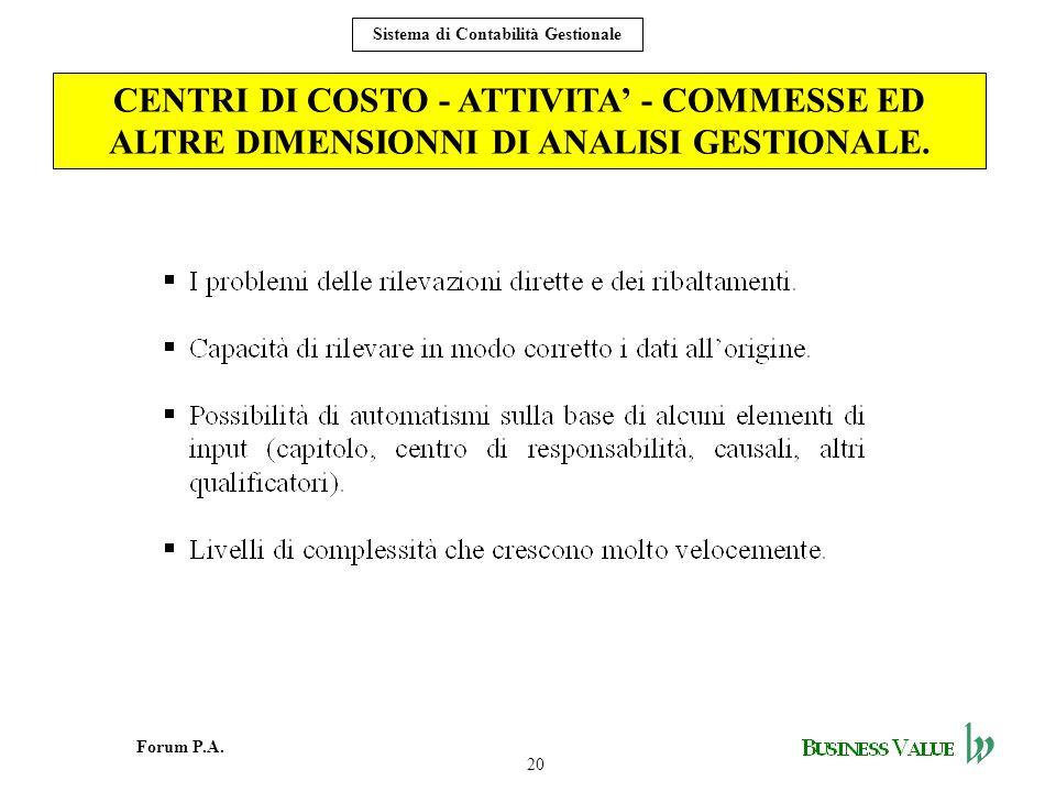 CENTRI DI COSTO - ATTIVITA' - COMMESSE ED ALTRE DIMENSIONNI DI ANALISI GESTIONALE.