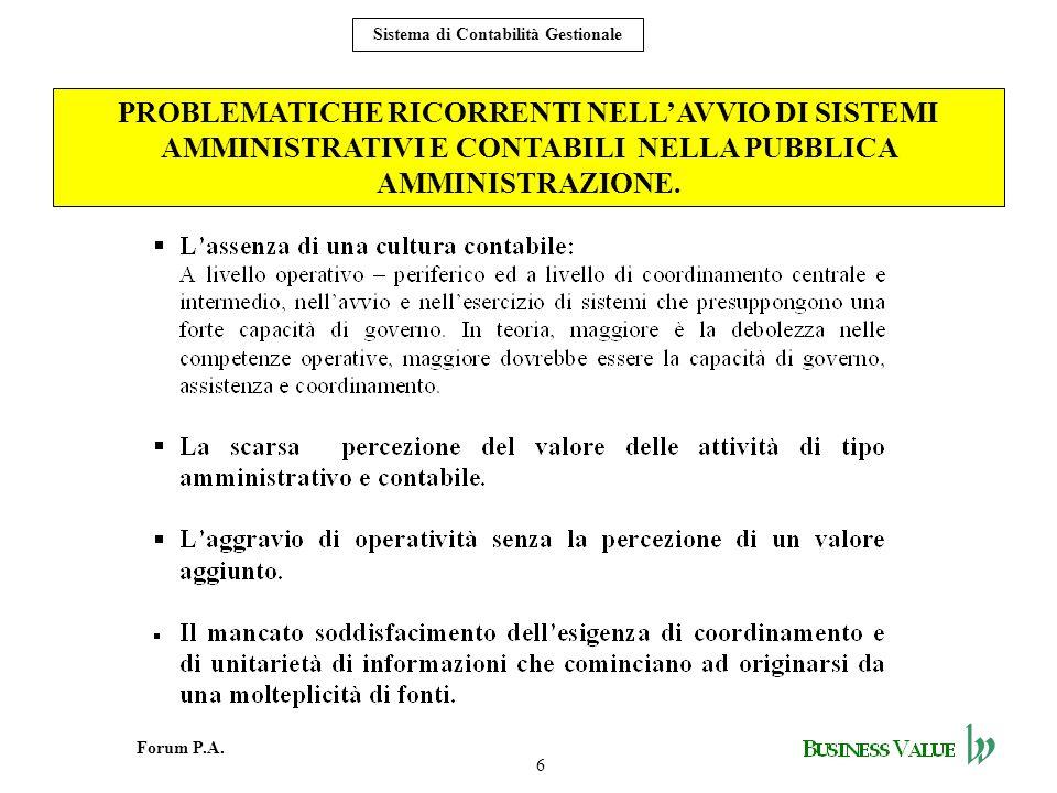 PROBLEMATICHE RICORRENTI NELL'AVVIO DI SISTEMI AMMINISTRATIVI E CONTABILI NELLA PUBBLICA AMMINISTRAZIONE.