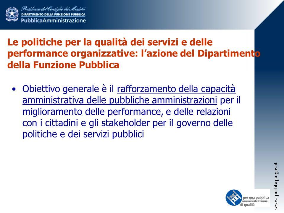 Le politiche per la qualità dei servizi e delle performance organizzative: l'azione del Dipartimento della Funzione Pubblica