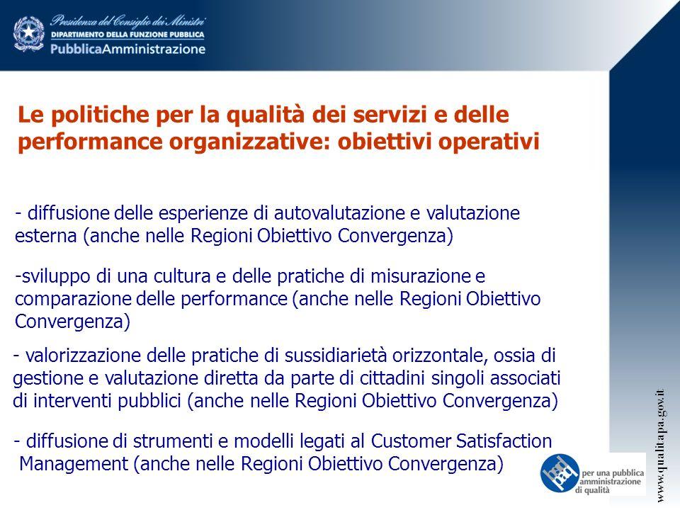 Le politiche per la qualità dei servizi e delle performance organizzative: obiettivi operativi
