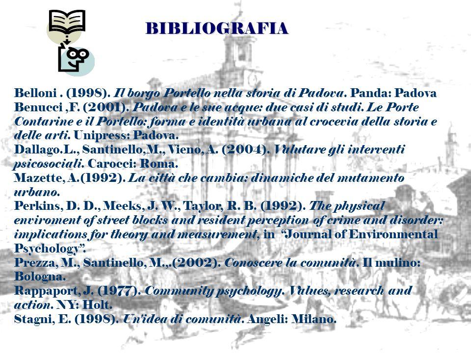 BIBLIOGRAFIA Belloni . (1998). Il borgo Portello nella storia di Padova. Panda: Padova.