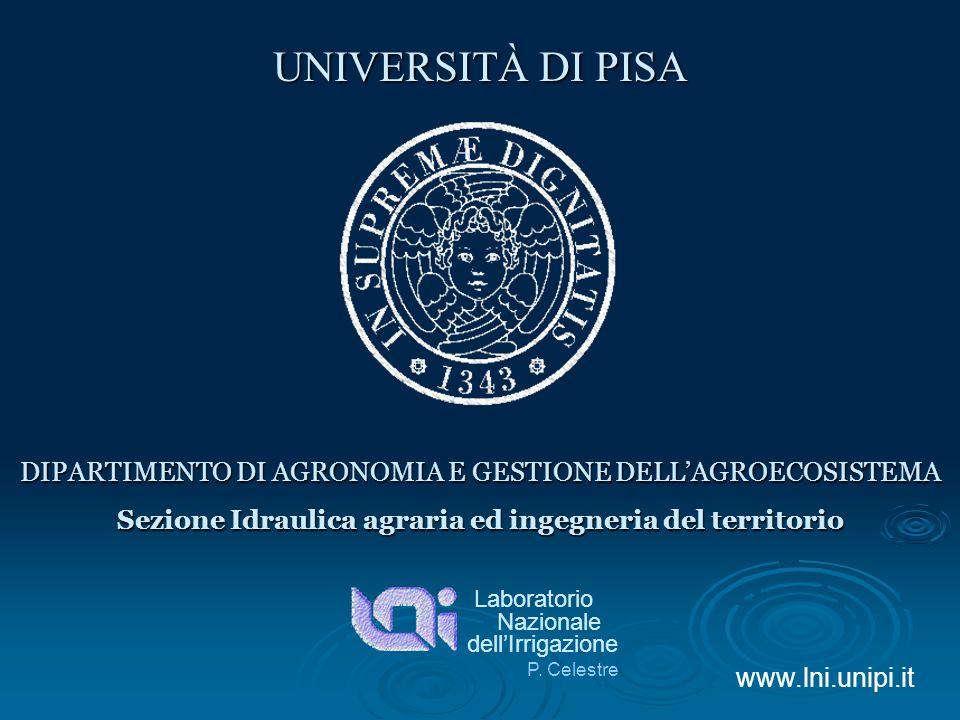 Sezione Idraulica agraria ed ingegneria del territorio