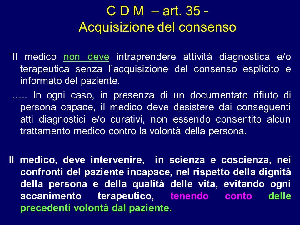 C D M – art. 35 - Acquisizione del consenso