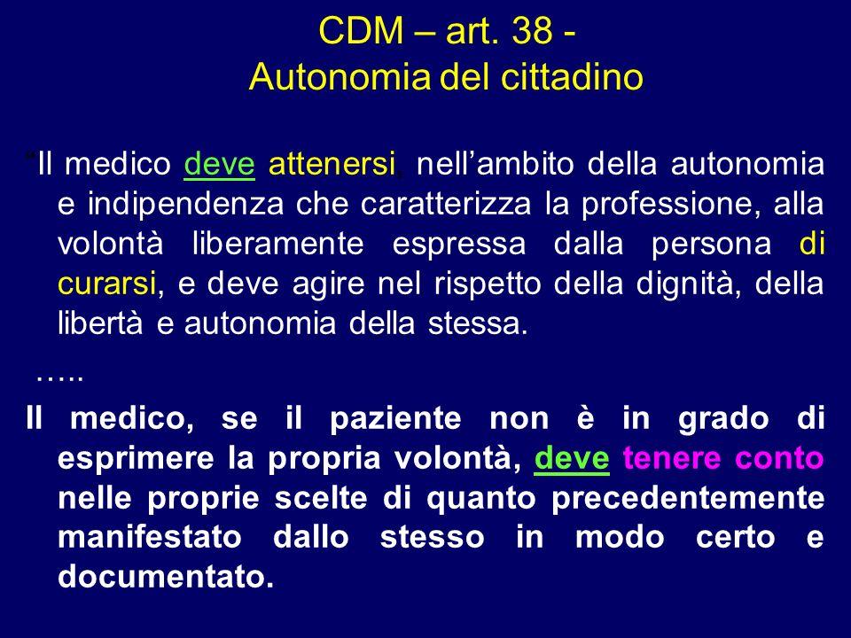 CDM – art. 38 - Autonomia del cittadino