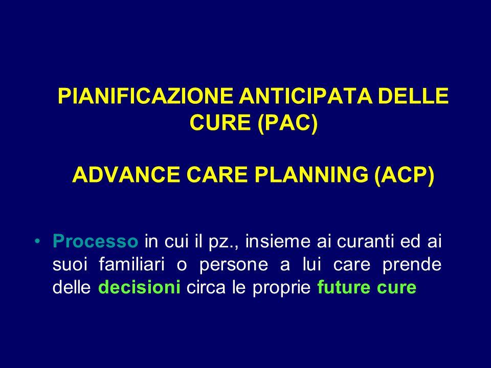 PIANIFICAZIONE ANTICIPATA DELLE CURE (PAC) ADVANCE CARE PLANNING (ACP)
