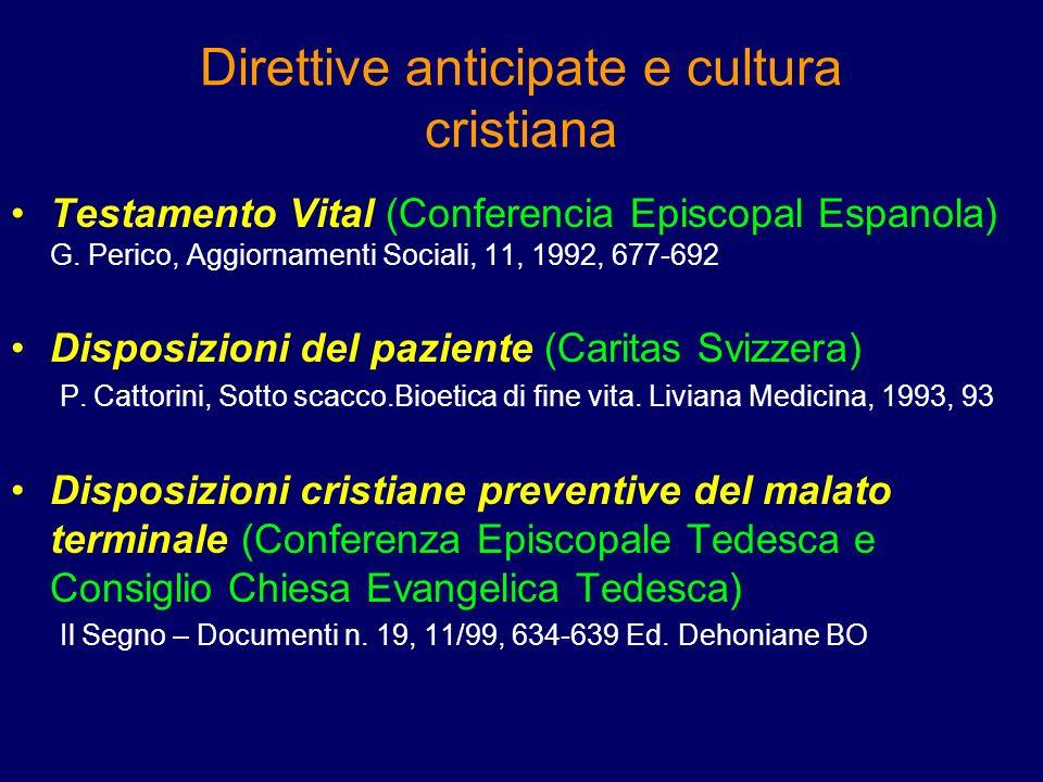 Direttive anticipate e cultura cristiana