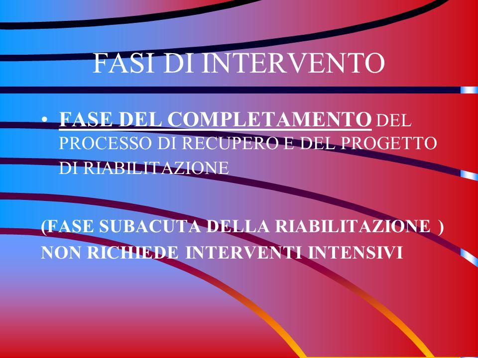 FASI DI INTERVENTO FASE DEL COMPLETAMENTO DEL PROCESSO DI RECUPERO E DEL PROGETTO DI RIABILITAZIONE.