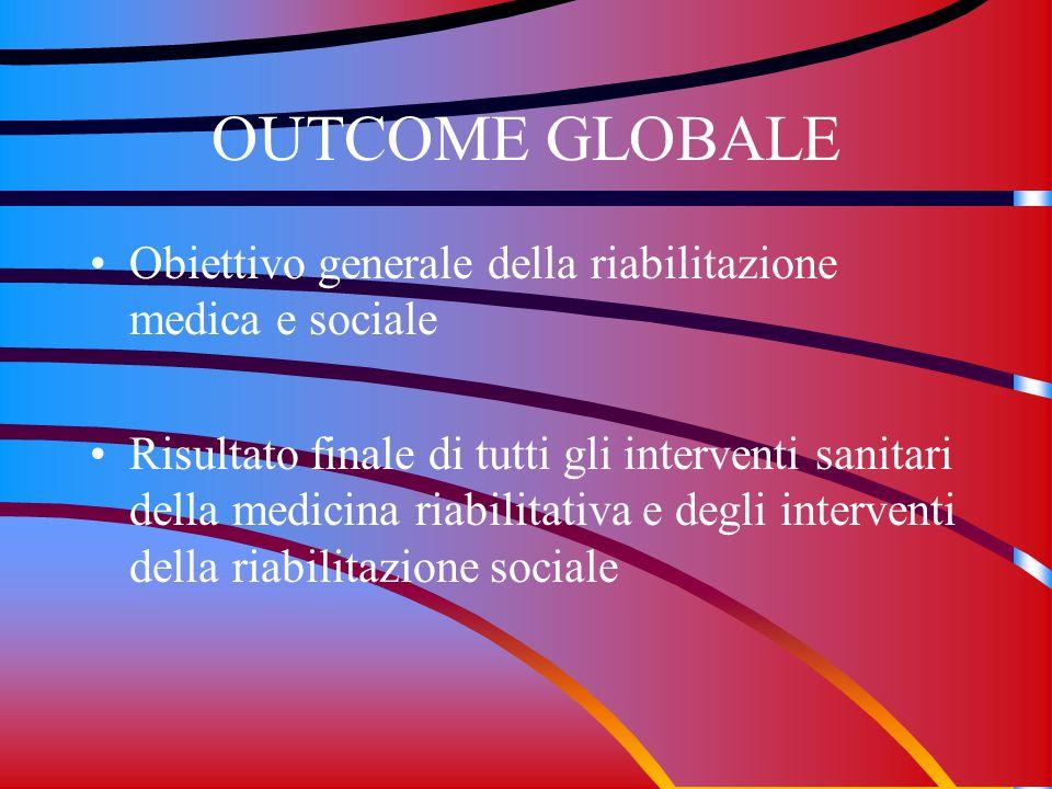OUTCOME GLOBALE Obiettivo generale della riabilitazione medica e sociale.
