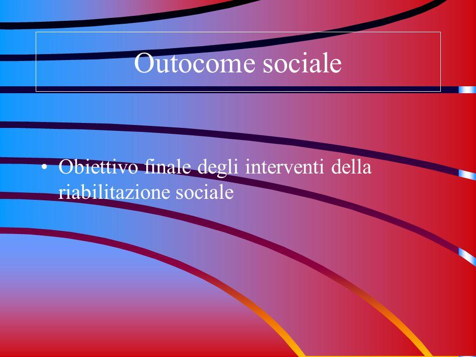 Outocome sociale Obiettivo finale degli interventi della riabilitazione sociale
