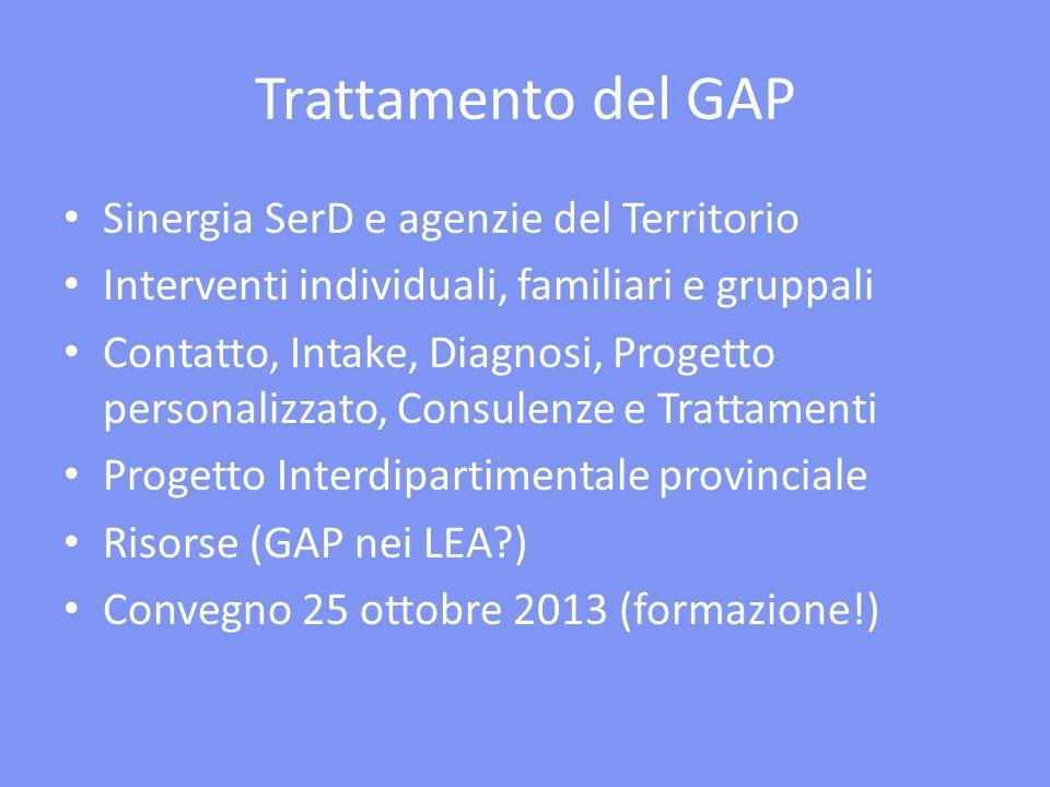 Trattamento del GAP Sinergia SerD e agenzie del Territorio
