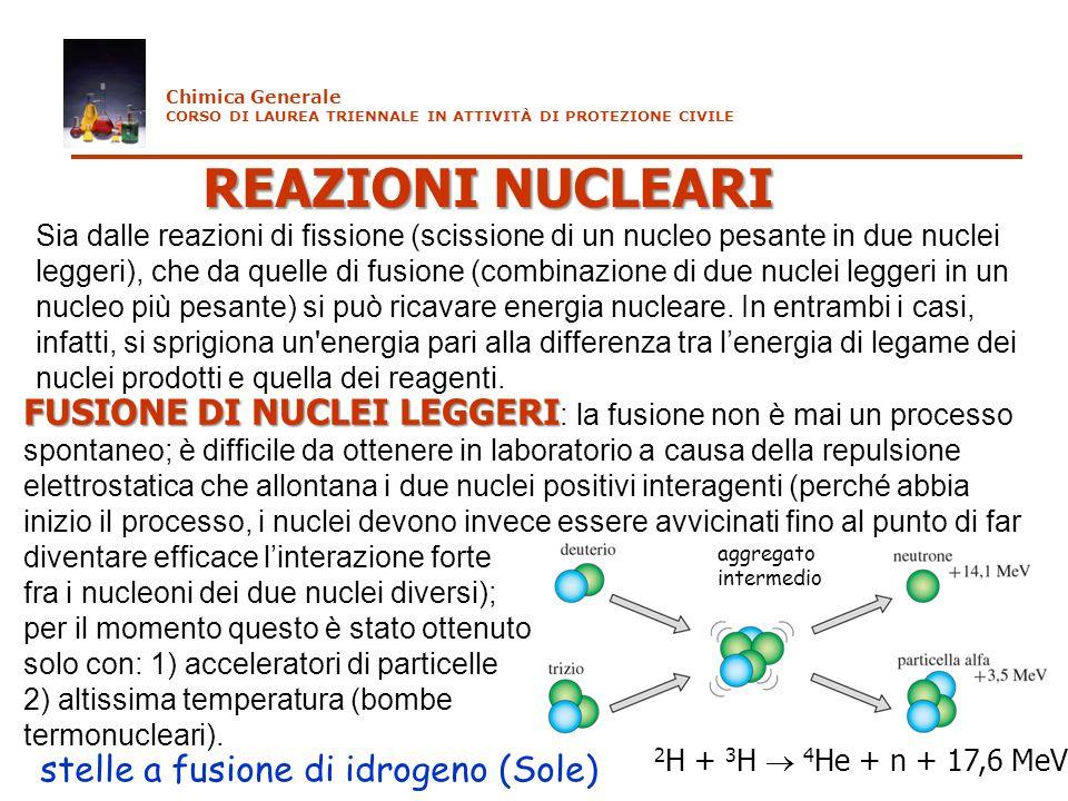 Chimica Generale CORSO DI LAUREA TRIENNALE IN ATTIVITÀ DI PROTEZIONE CIVILE. REAZIONI NUCLEARI.