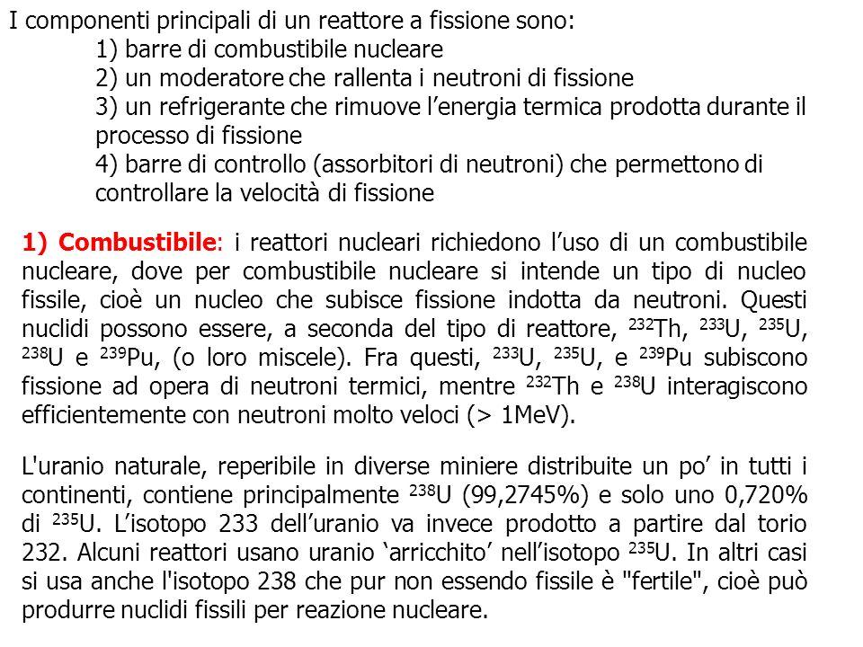 I componenti principali di un reattore a fissione sono: