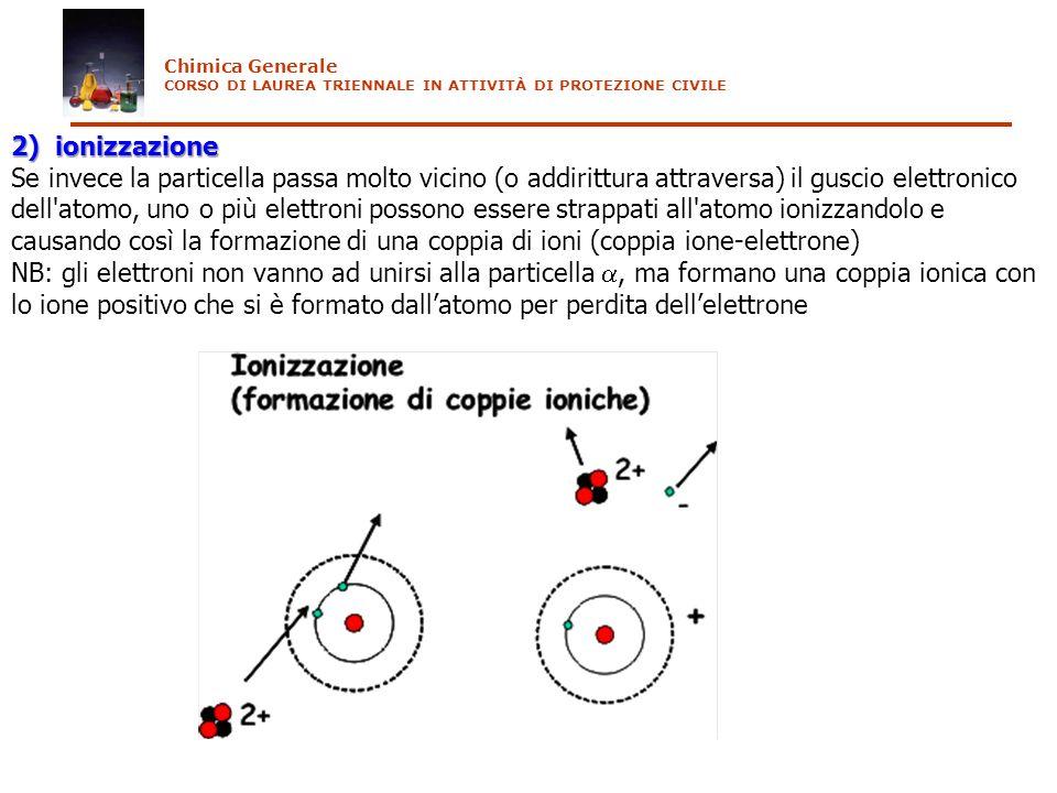 Chimica Generale CORSO DI LAUREA TRIENNALE IN ATTIVITÀ DI PROTEZIONE CIVILE. 2) ionizzazione.