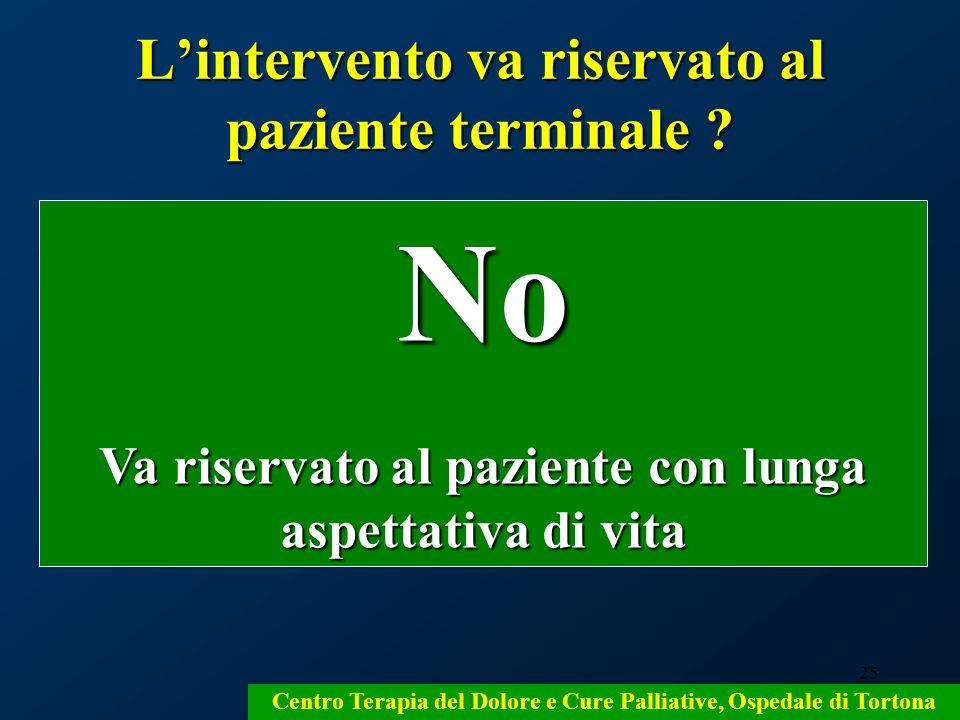 L'intervento va riservato al paziente terminale