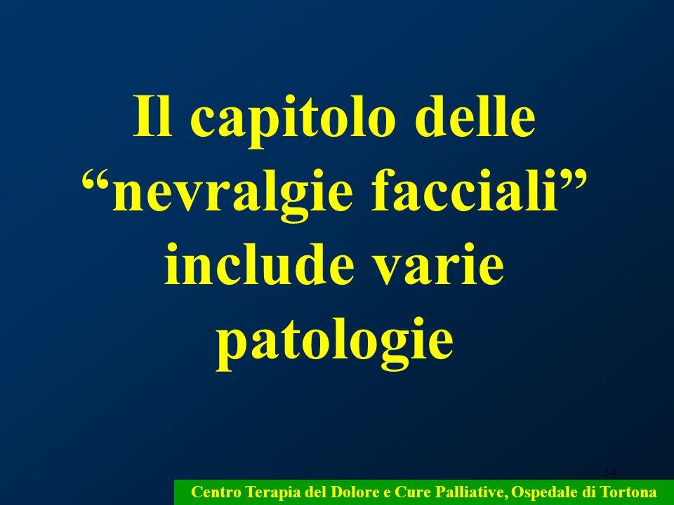 Il capitolo delle nevralgie facciali include varie patologie