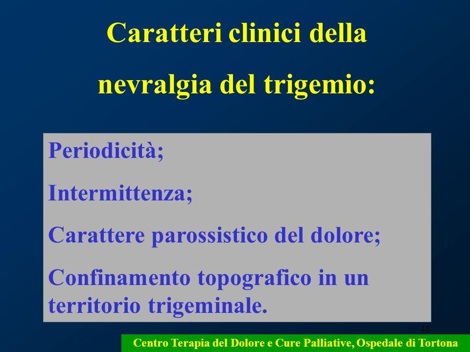 Caratteri clinici della nevralgia del trigemio: