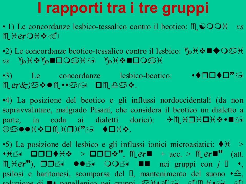 I rapporti tra i tre gruppi