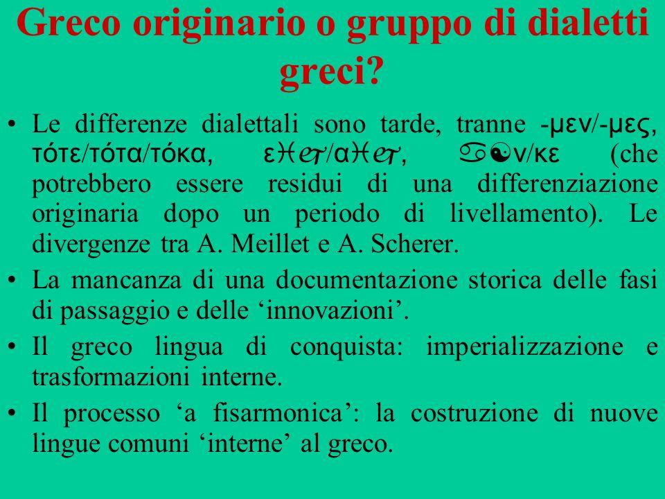 Greco originario o gruppo di dialetti greci