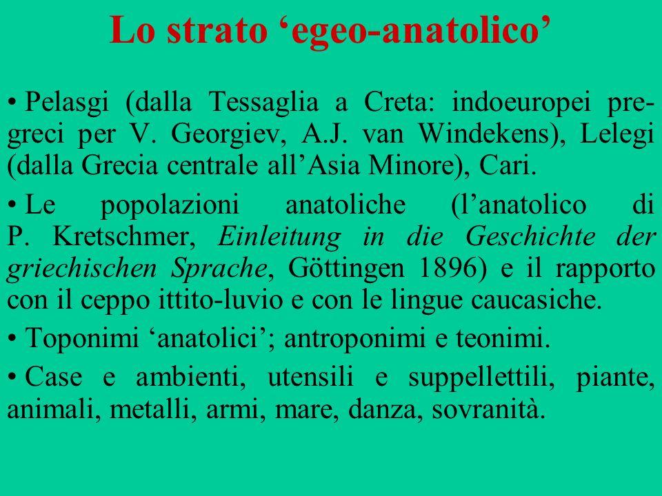 Lo strato 'egeo-anatolico'