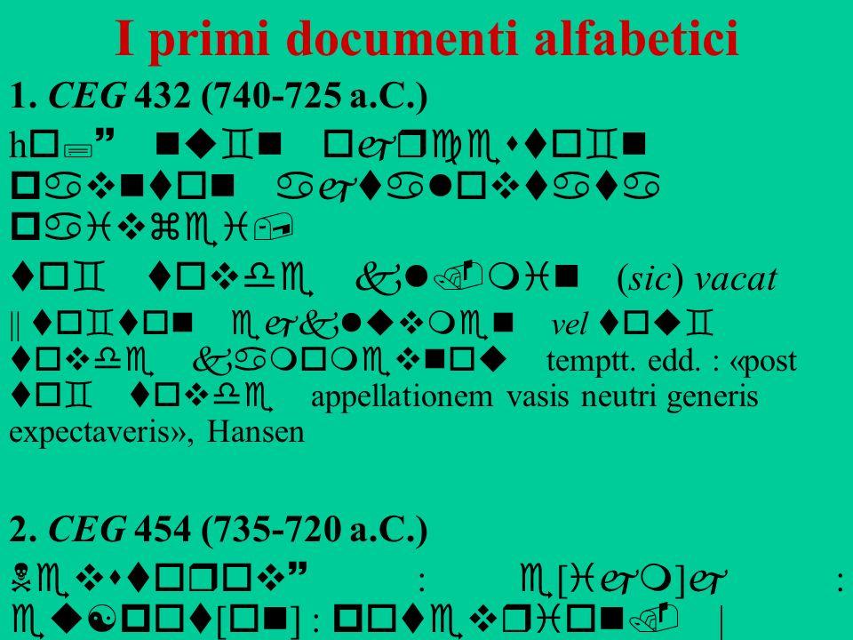 I primi documenti alfabetici