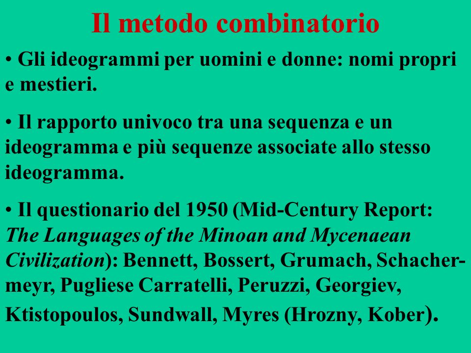 Il metodo combinatorio