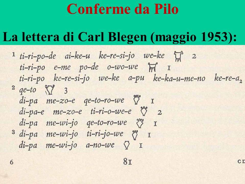 Conferme da Pilo La lettera di Carl Blegen (maggio 1953):