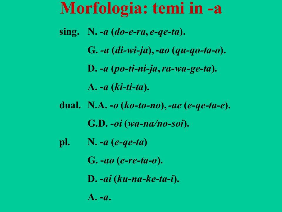 Morfologia: temi in -a sing. N. -a (do-e-ra, e-qe-ta).