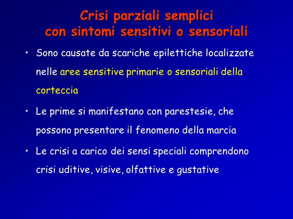 Crisi parziali semplici con sintomi sensitivi o sensoriali