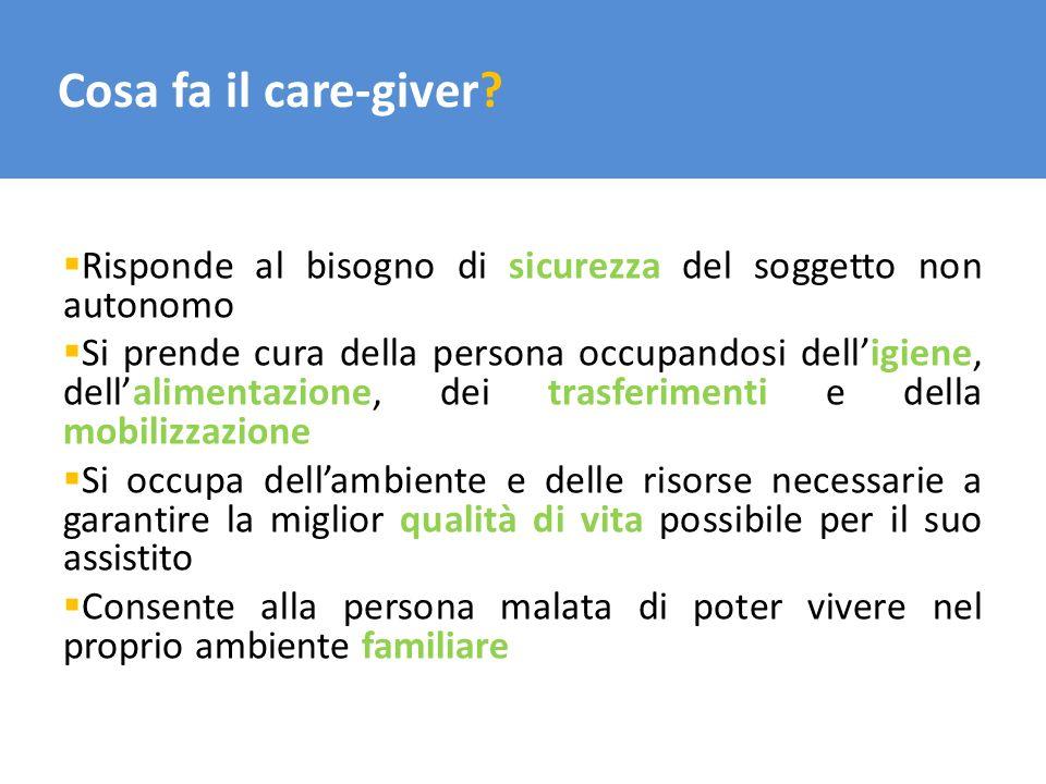 Cosa fa il care-giver Risponde al bisogno di sicurezza del soggetto non autonomo.