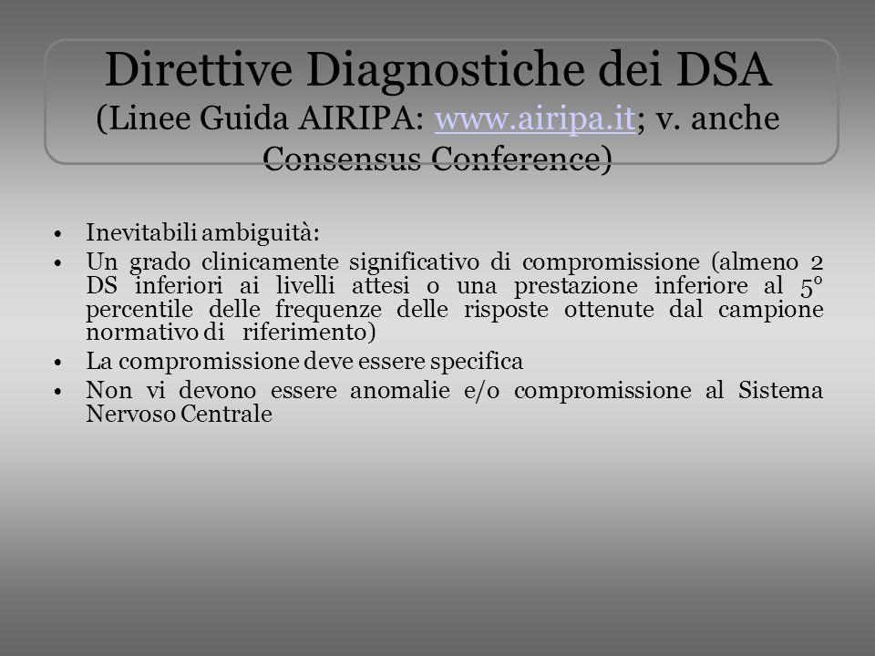Direttive Diagnostiche dei DSA (Linee Guida AIRIPA: www. airipa. it; v