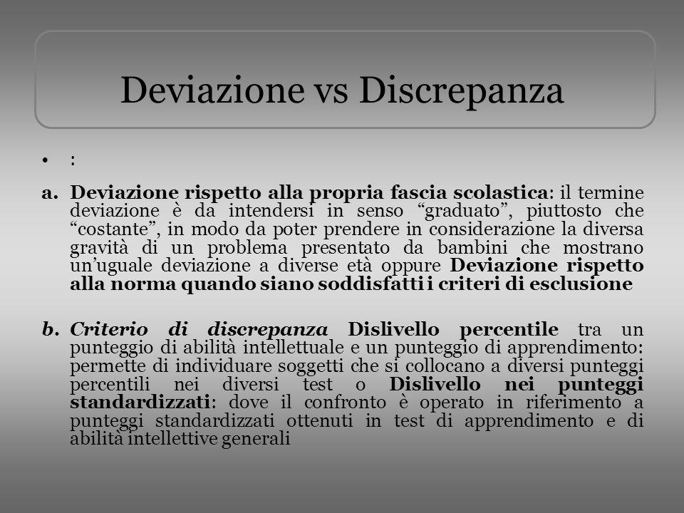 Deviazione vs Discrepanza
