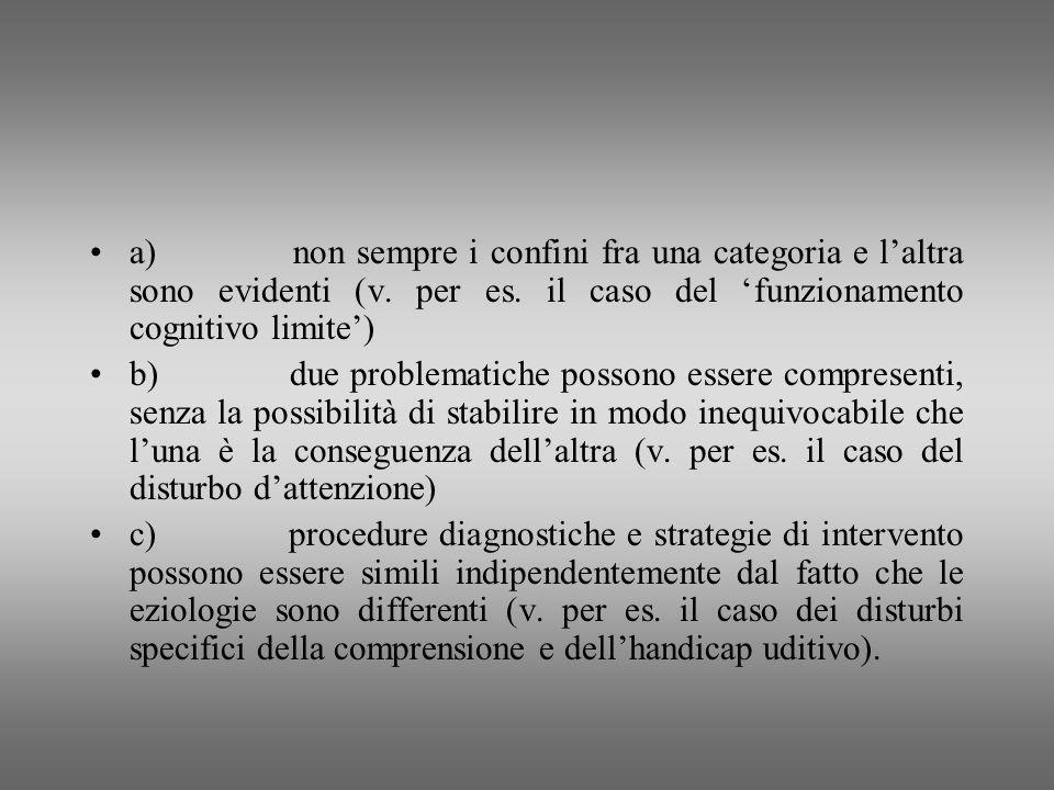 a) non sempre i confini fra una categoria e l'altra sono evidenti (v