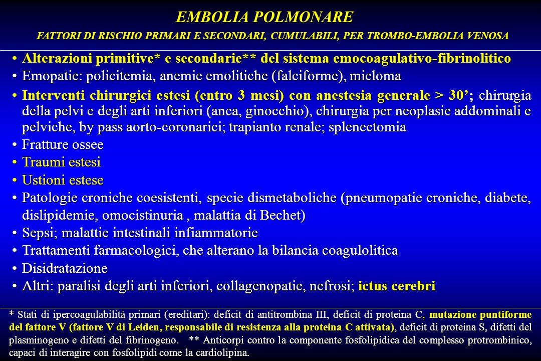 EMBOLIA POLMONARE FATTORI DI RISCHIO PRIMARI E SECONDARI, CUMULABILI, PER TROMBO-EMBOLIA VENOSA.