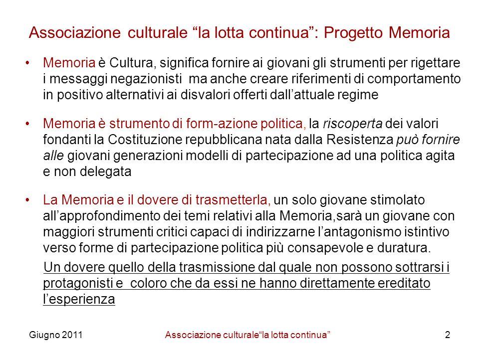Associazione culturale la lotta continua : Progetto Memoria