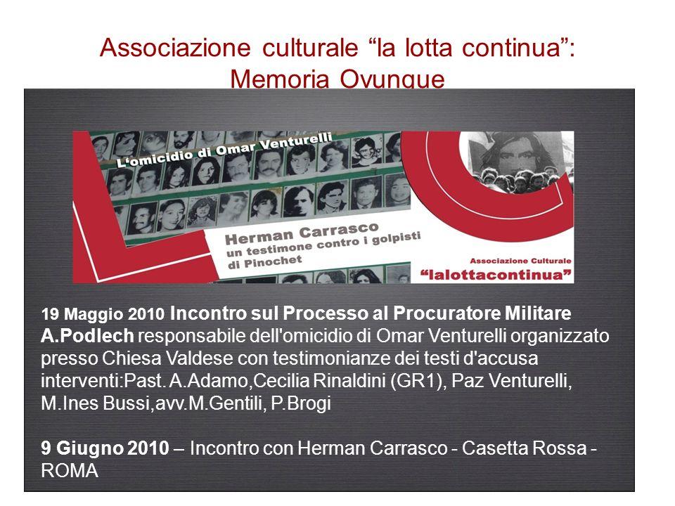 Associazione culturale la lotta continua : Memoria Ovunque