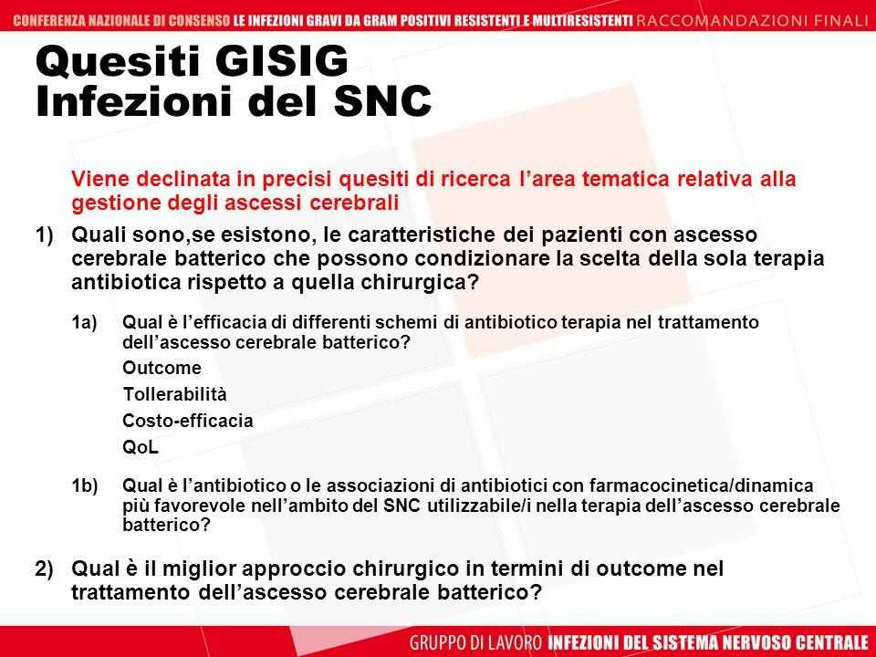 Quesiti GISIG Infezioni del SNC
