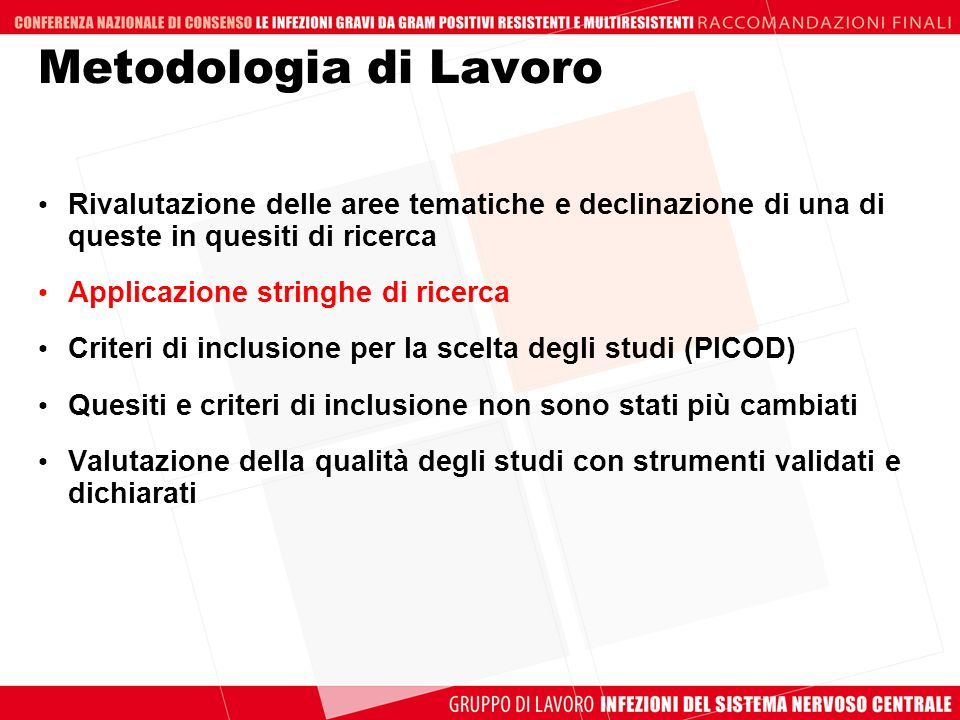 Metodologia di Lavoro Rivalutazione delle aree tematiche e declinazione di una di queste in quesiti di ricerca.
