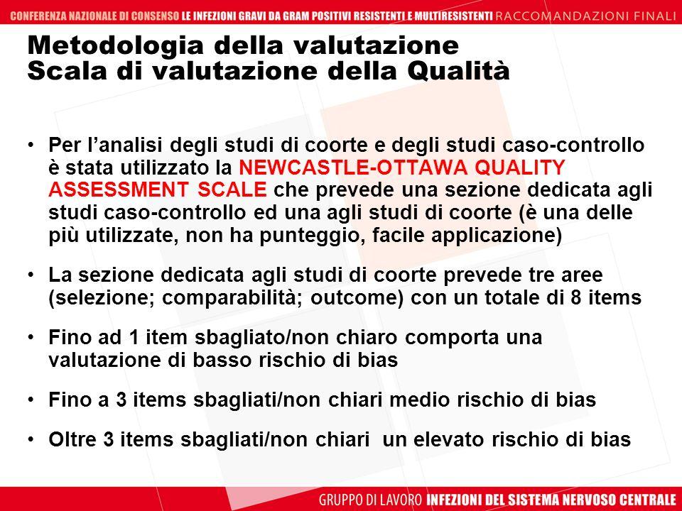 Metodologia della valutazione Scala di valutazione della Qualità