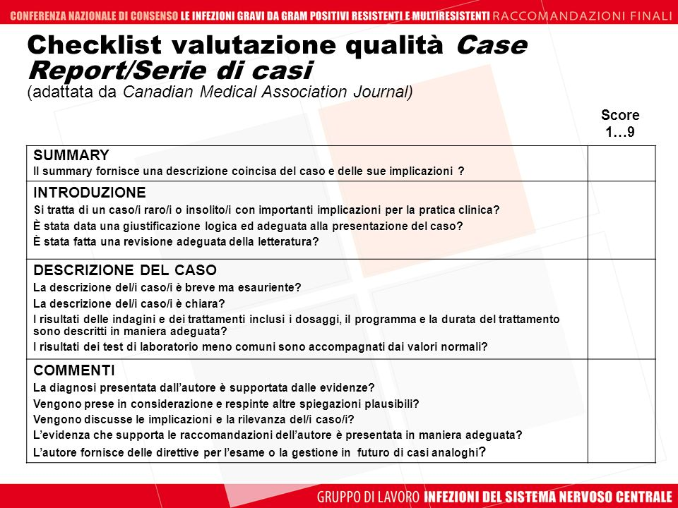 Checklist valutazione qualità Case Report/Serie di casi (adattata da Canadian Medical Association Journal)