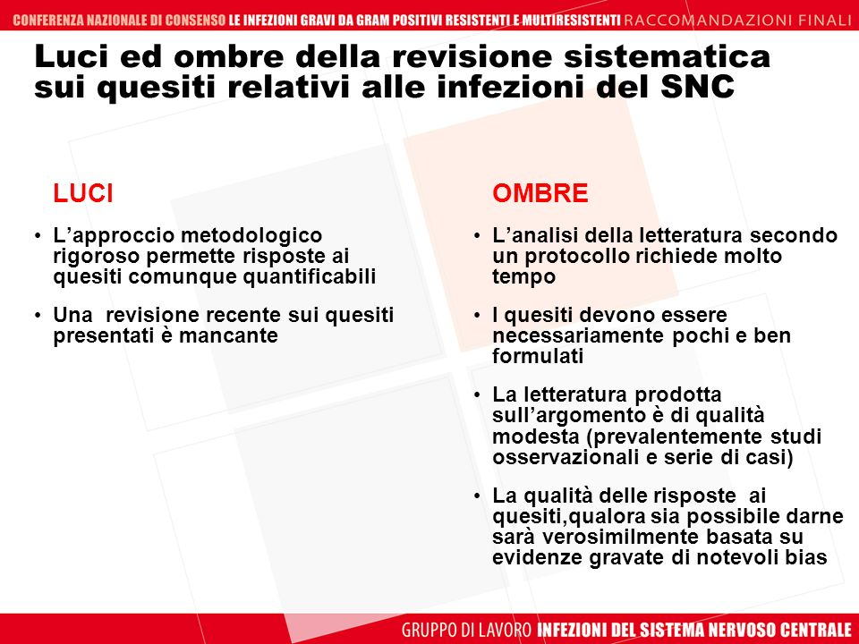 Luci ed ombre della revisione sistematica sui quesiti relativi alle infezioni del SNC