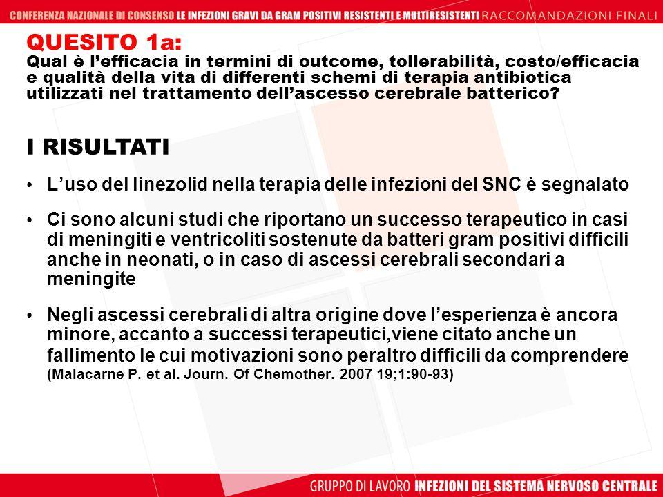 QUESITO 1a: Qual è l'efficacia in termini di outcome, tollerabilità, costo/efficacia e qualità della vita di differenti schemi di terapia antibiotica utilizzati nel trattamento dell'ascesso cerebrale batterico