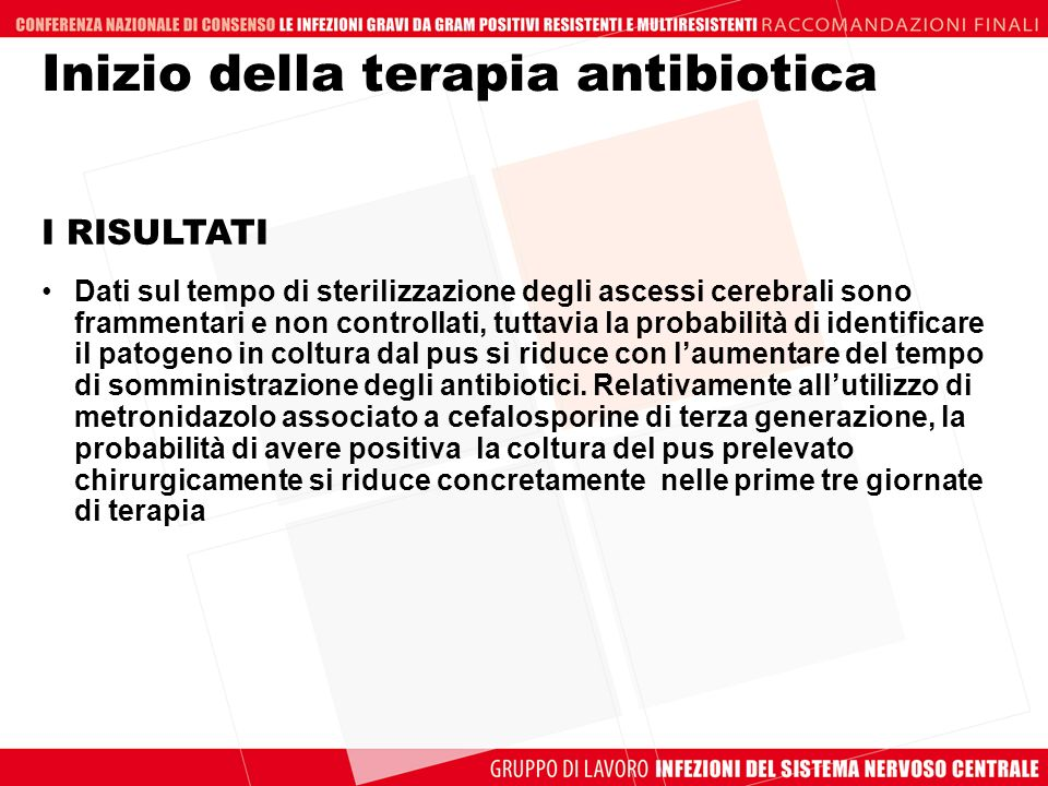 Inizio della terapia antibiotica