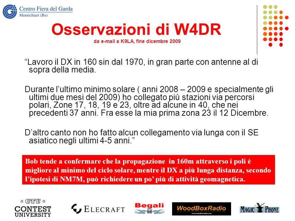 Osservazioni di W4DR da e-mail a K9LA, fine dicembre 2009