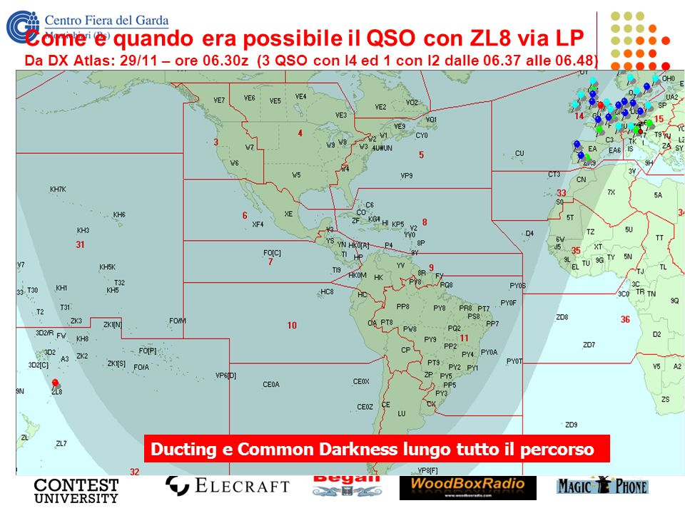 Come e quando era possibile il QSO con ZL8 via LP Da DX Atlas: 29/11 – ore 06.30z (3 QSO con I4 ed 1 con I2 dalle 06.37 alle 06.48)