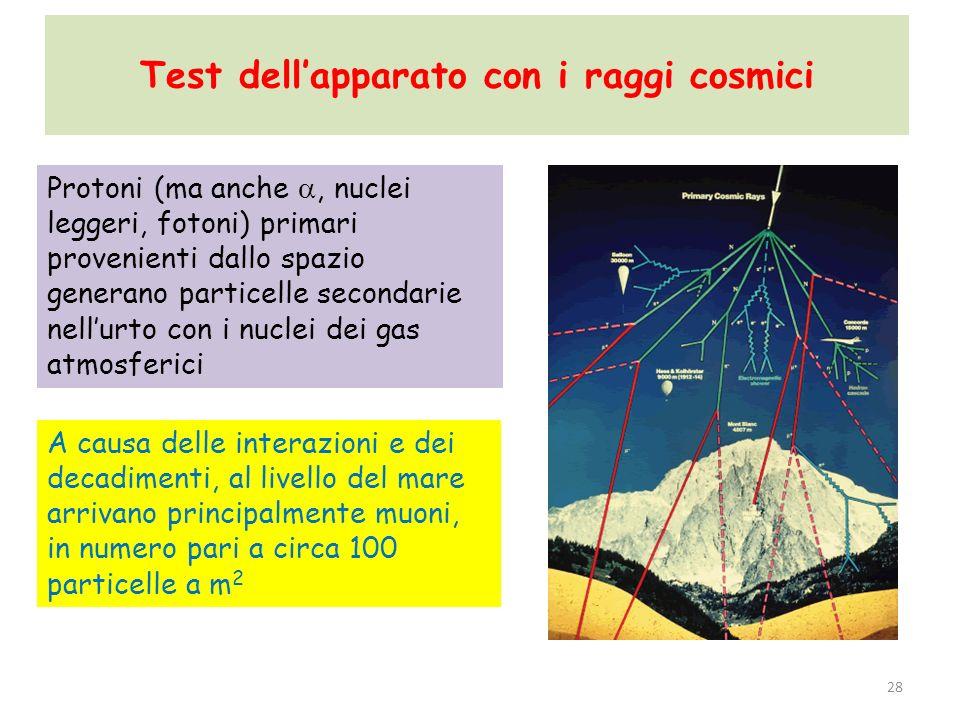 Test dell'apparato con i raggi cosmici