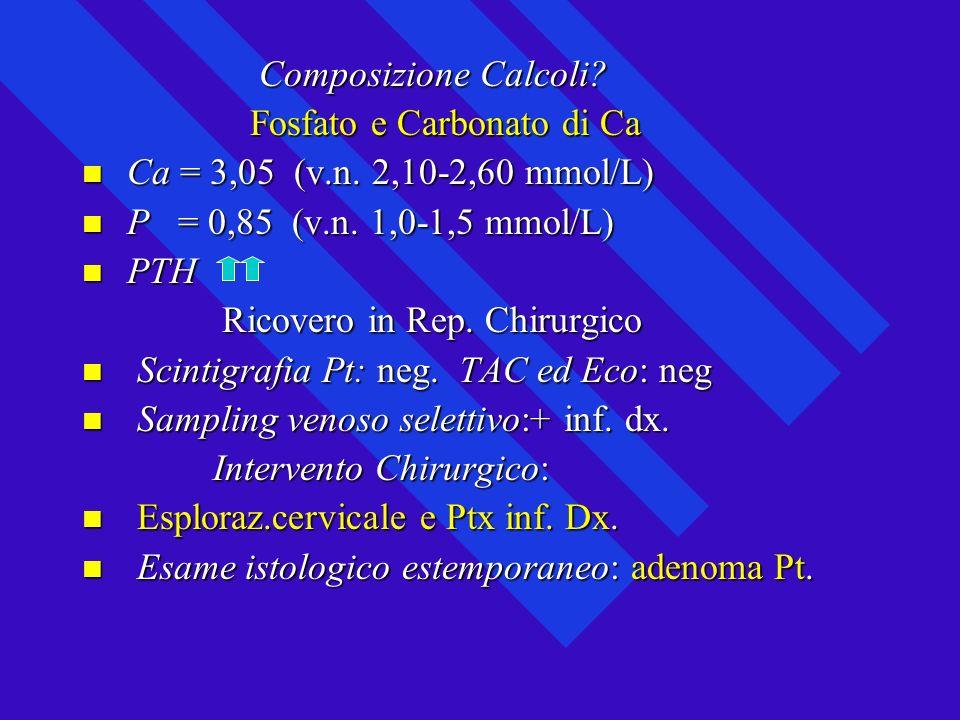 Composizione Calcoli Fosfato e Carbonato di Ca. Ca = 3,05 (v.n. 2,10-2,60 mmol/L) P = 0,85 (v.n. 1,0-1,5 mmol/L)