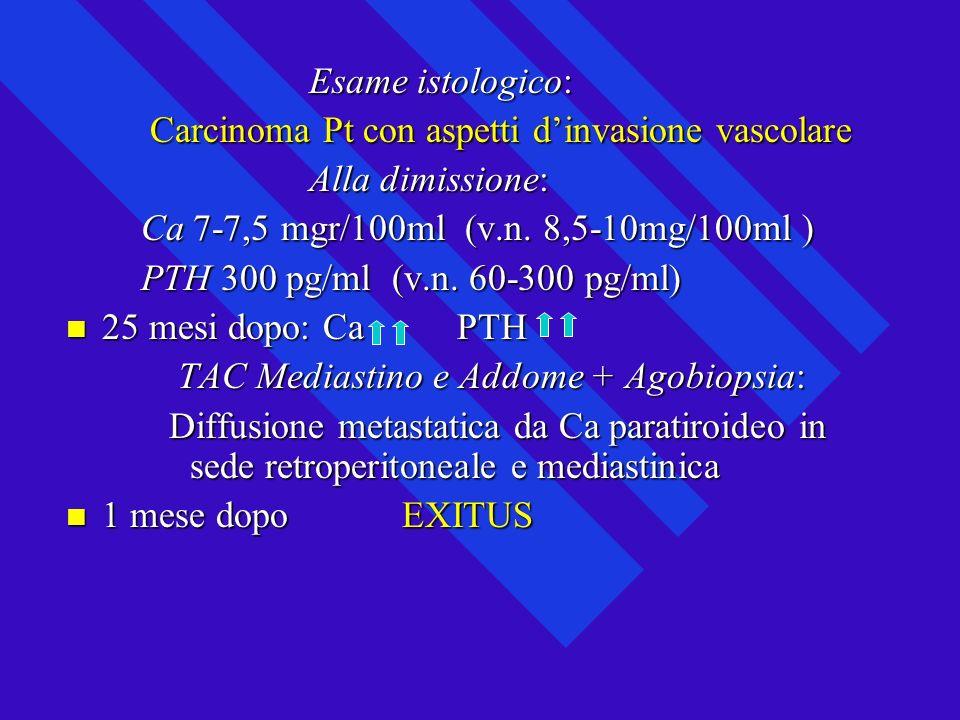 Esame istologico: Carcinoma Pt con aspetti d'invasione vascolare. Alla dimissione: Ca 7-7,5 mgr/100ml (v.n. 8,5-10mg/100ml )