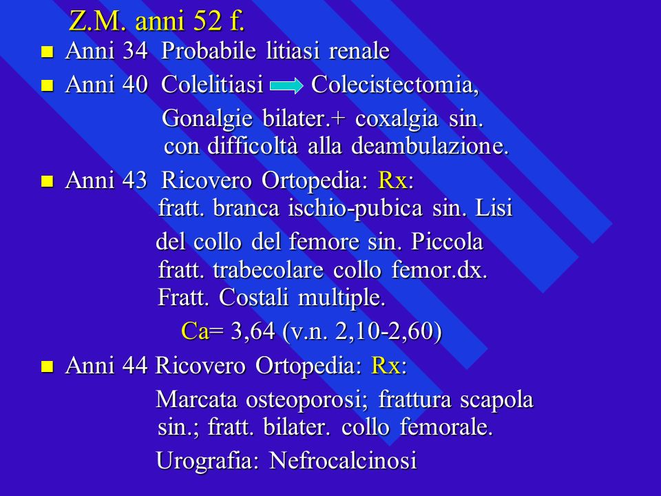 Z.M. anni 52 f. Anni 34 Probabile litiasi renale