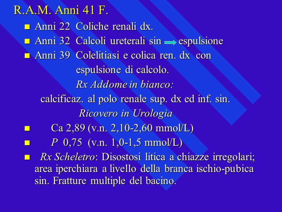 R.A.M. Anni 41 F. Anni 22 Coliche renali dx.